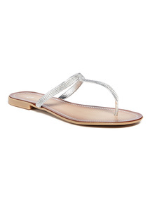 Silver Diamanté Embellished Toe-Post Sandals