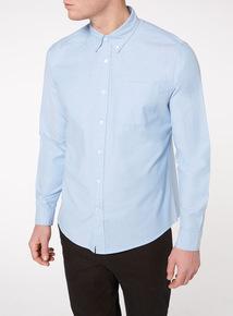 Blue Plain Stretch Oxford Shirt