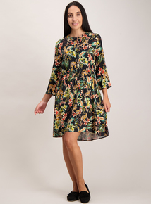 Multicoloured Leopard & Floral Print Shirt Dress