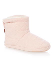 Pink Heart Marl Boot Slippers