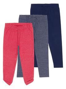 Girls Navy Stripe Leggings 3-Pack (3-12 years)