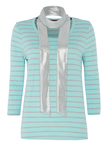Green Striped Top with Scarf