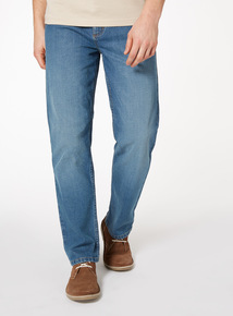Light Wash Denim Straight Jeans