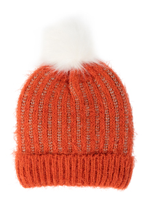 Orange Knit Pom Pom Bobble Hat