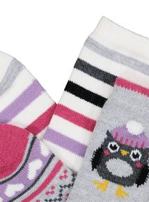 Grey & Pink Owl Thermal Socks 2 Pack