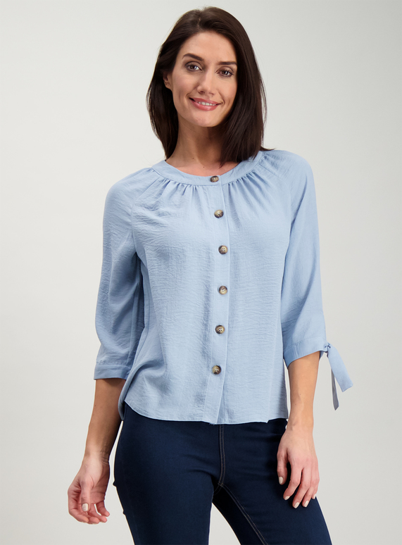 7cff1704 Womens Blue Round Neck Button Blouse | Tu clothing