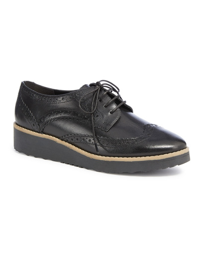 Black Premium Leather Platform Brogue