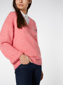 Pink Wide Sleeve Embellished Jumper