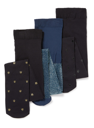 3 Pack Multicoloured Glitter Opaque Tights (2-12 years)