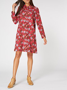 Multicoloured Floral Shirt Dress
