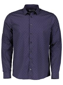 Navy Foulard Print Regular Fit Shirt