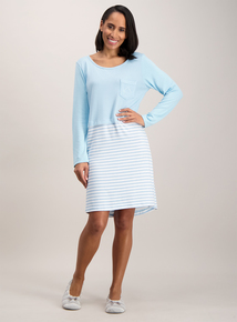 Blue Striped Double Layer Nightdress
