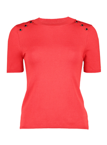 Red Button-Shoulder Knitted Top
