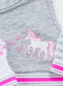 Unicorn Print Crop Tops 3 Pack (5-14 years)