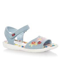 Girls Denim Embroidered Sandal
