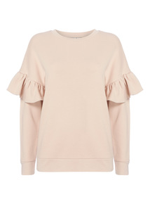 Pink Frill Sleeve Sweat