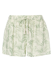 Green Jungle Leaf Patterned Shorts