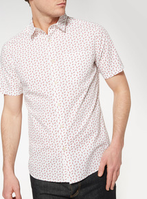 Red and White Cactus Print Slim Fit Shirt