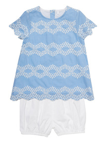 Blue Embroidered Top And Shorts Set (0 - 24 months)