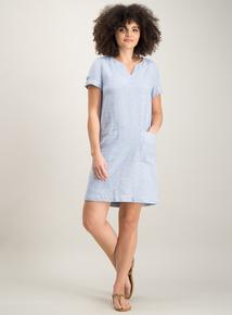 09df5b6f09d Blue Fine Stripe Linen Pocket Shift Dress