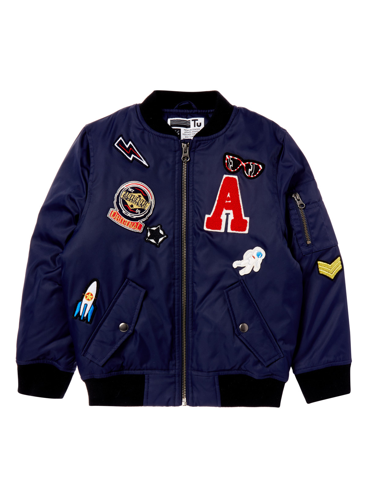 All Boy's Clothing Boys Navy Badged Bomber Jacket (3-14 years ...