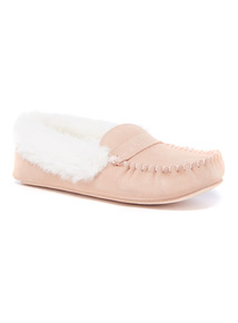 Pink Suede Moccasin Slipper