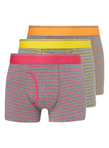 3 Pack Grey Bright Stripe Pattern Trunks