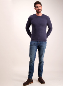 Blue Bouclé Knit Crew Neck Jumper