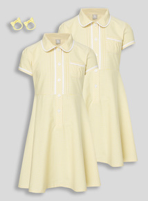Girls Yellow Classic Gingham Dress With Bobble 2 Pack (3 - 12 years)