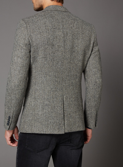 Grey Herringbone 100% British Wool Slim Fit Jacket