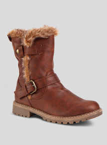 Online Exclusive Brown Buckle Strap Boot