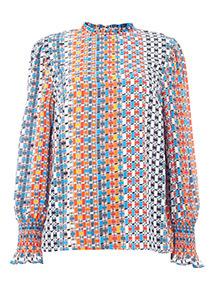 Multicoloured Woven Print Long Sleeve Blouse