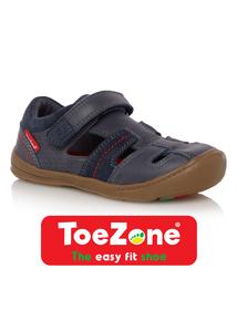 Boys Navy Leather ToeZone Sandals
