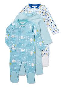 3 Pack Blue Seaside Sleepsuits (Newborn - 24 Months)