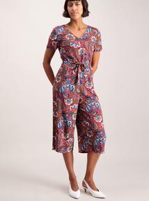 Brown Paisley Culotte Jumpsuit
