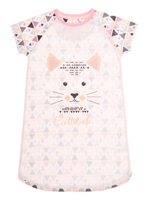 Mix and Match Pink Geo Cat Nightie (3 - 13 years)