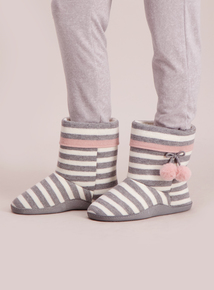Grey And White Pom-Pom Boot Slippers