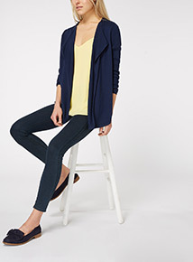 Navy Pointelle Waterfall Cardigan