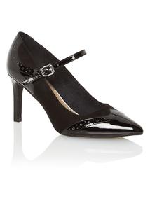 Black Pointed Brogue Heels