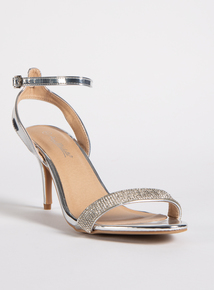 Online Exclusive Silver Diamante Stiletto Sandal