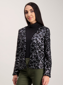 Black & Pewter Sequinned Jacket