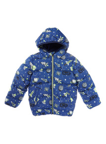 Multicoloured Space Print Puffer Jacket (9 months-6 years)