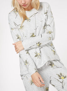 Floral Dip Hem Long Sleeve Top