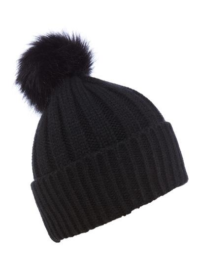 ce344abef3f SKU  AW16 BLACK FUR POM HAT Black One Size