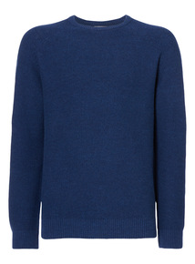Navy Seed Stitch Crew Neck Jumper
