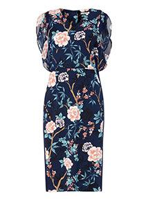 Multicoloured Chiffon Floral Midi Dress