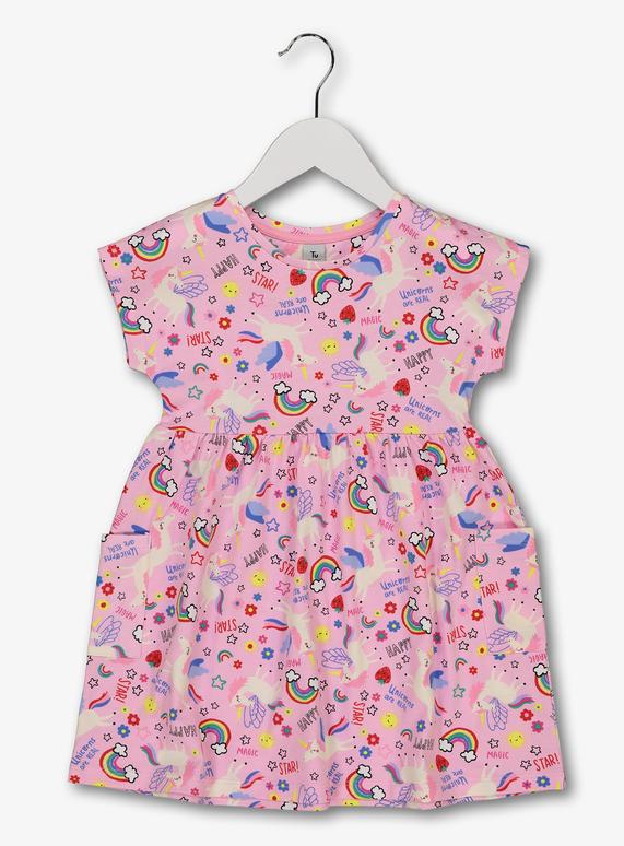 372292856fdd Baby Pink Unicorn Print Dress (9 Months - 6 Years) | Tu clothing