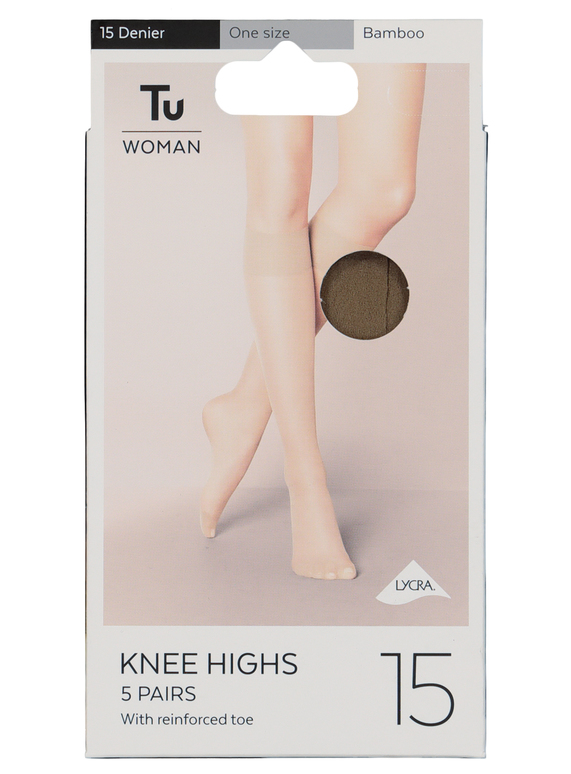 750a2e596 Womens Bamboo Lycra Knee High 15 Denier 5 Pack (One Size) | Tu clothing
