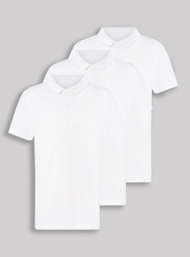 3 Pack White Unisex Slim Fit Polo Shirts