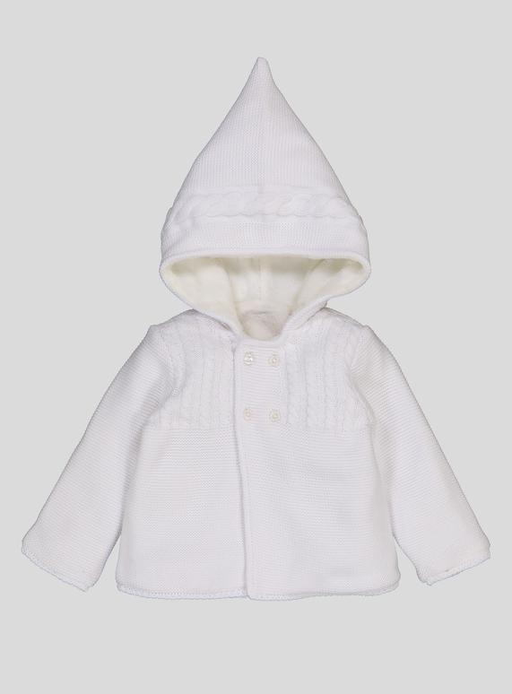 3c20e444f Baby White Hooded Pram Cardigan (0-24 months)